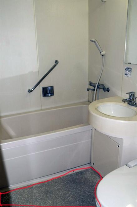 貼り物の床のユニットのお風呂