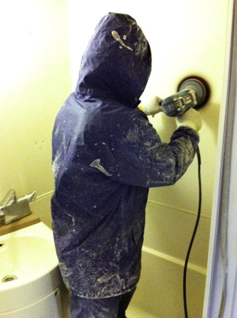 コーティング塗装前の作業