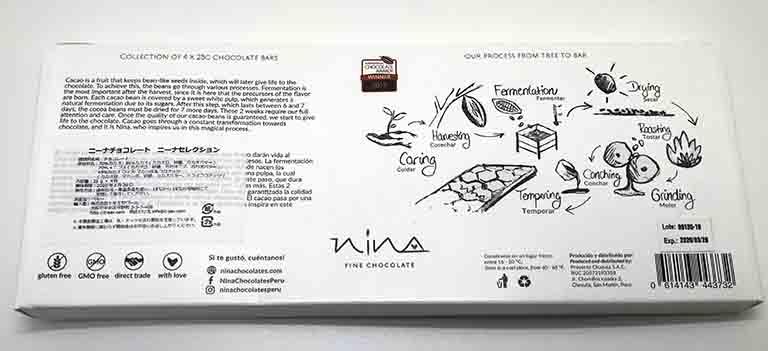 NINAミニバーチョコのパッケージ裏の解説