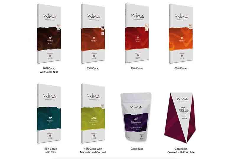 ペルー産カカオ使用のNINAのチョコレート製品群