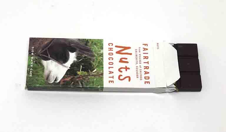 スローウォーターカフェのエクアドルサリネリートチョコレートを開封した写真